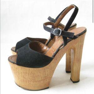 Vintage 70s Italian Platform Wooden Stacked Heels